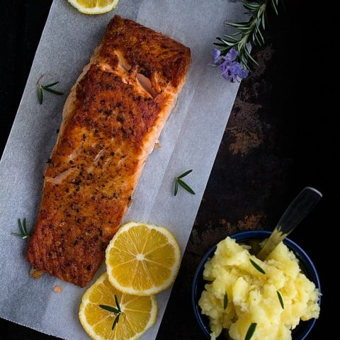 Grilled Salmon with Mashed Potato