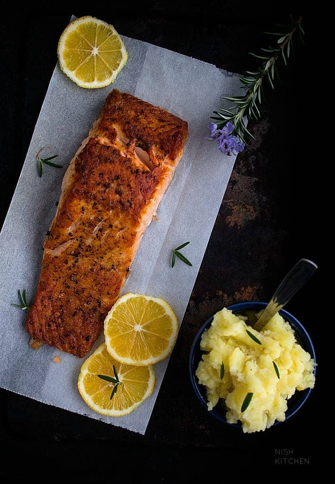 grilled salmon with mashed potato recipe