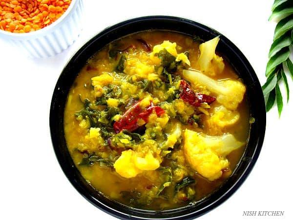 Lentils Kale Cauliflower Curry | Nish Kitchen