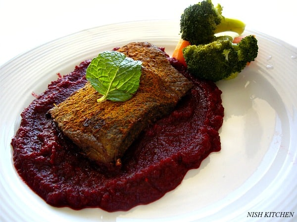 Moroccan Steak with Beetroot Puree| nish kitchen