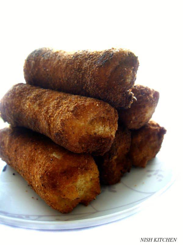 savory toast roll ups   kerala bread rolls   nish kitchen