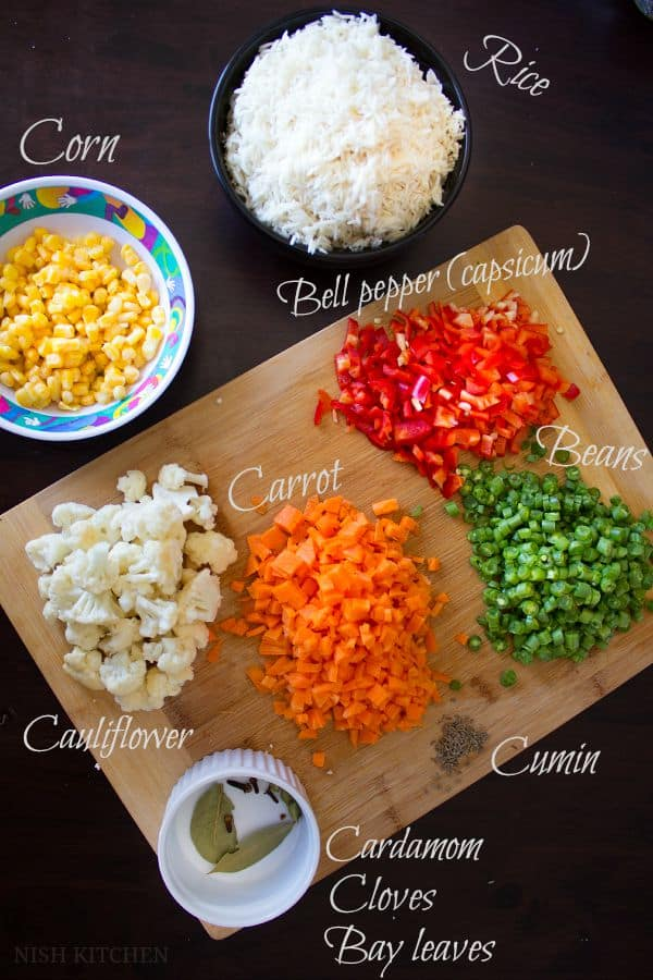 Panchranga pulao | five color pulao - ingredients