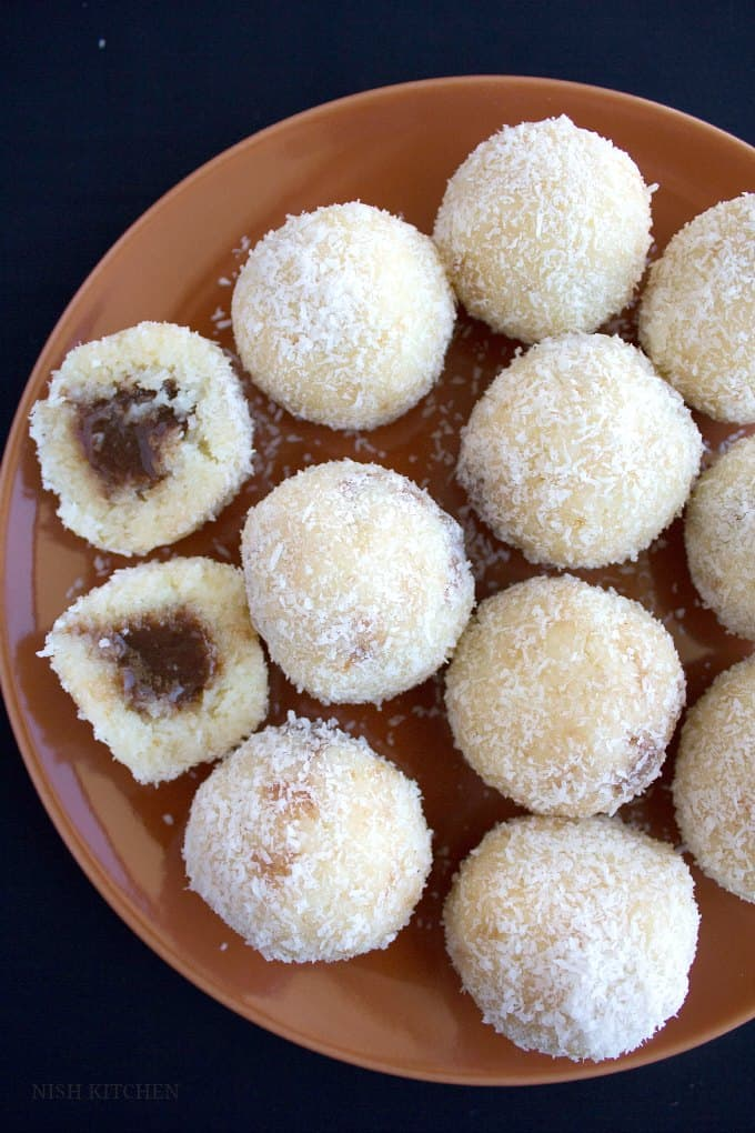 chocolate stuffed coconut ladoo 1