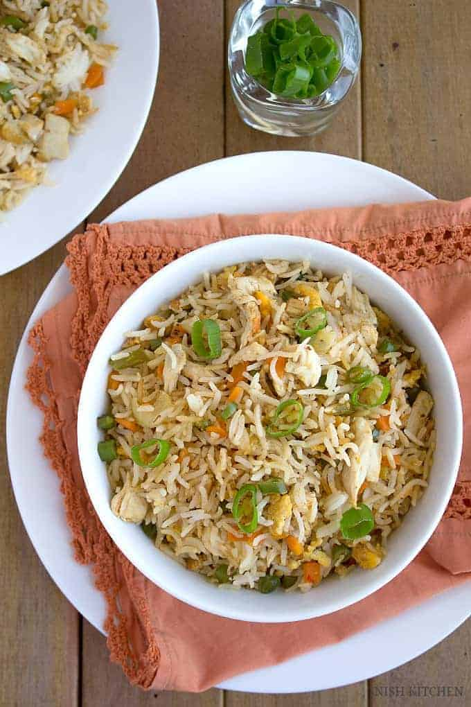 Indian Chicken Fried Rice - Restaurant Style | Nish Kitchen