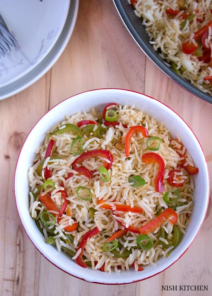 how to make Ginger capsicum fried rice