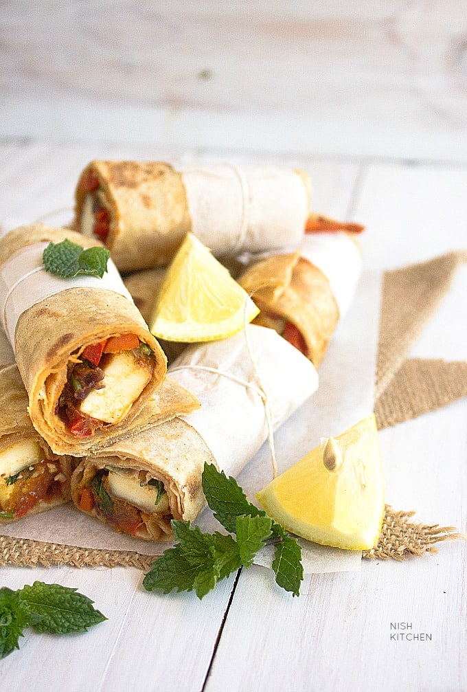 paneer wrap or kathi roll recipe - paneer recipes