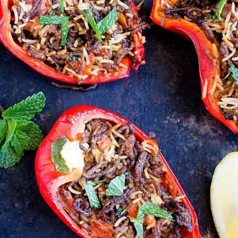 stuffed bell peppers - stuffed capsicum - indian style with video