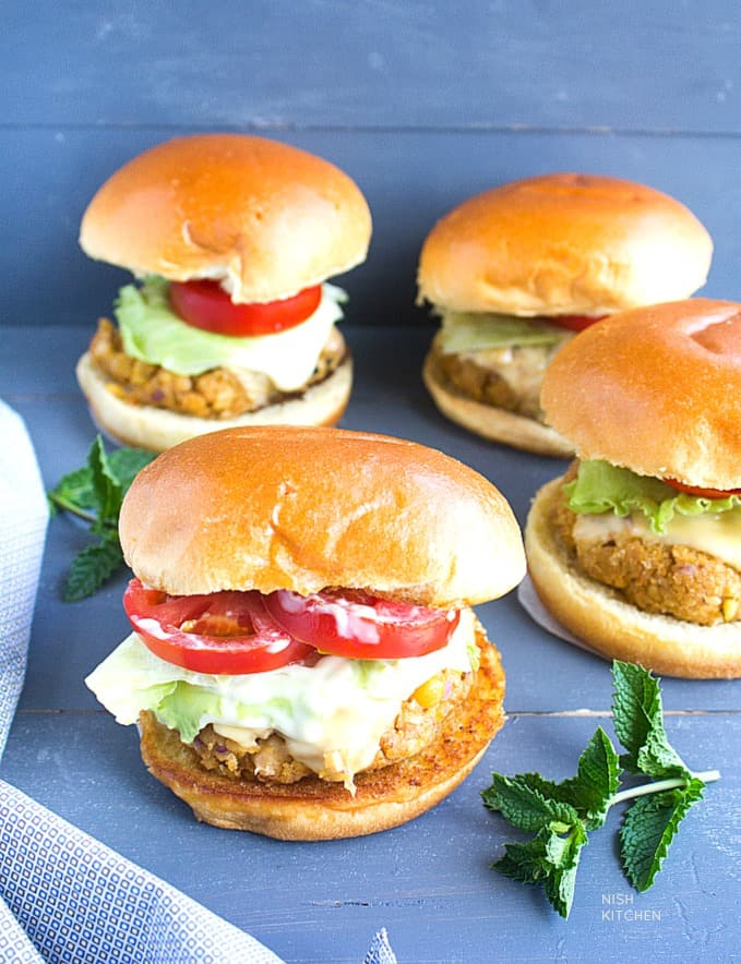 easy chickpea burgers with video