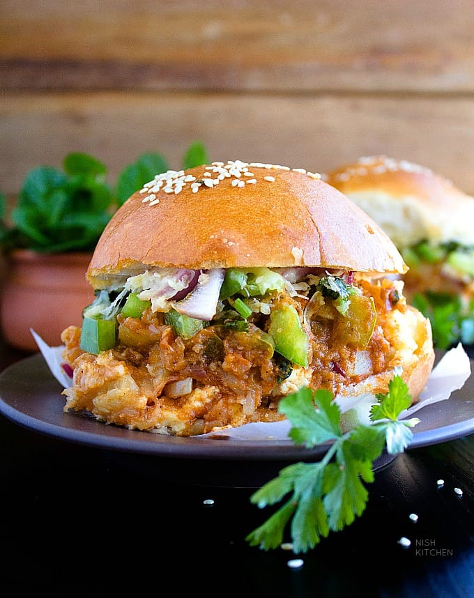 cheesy paneer pav bhaji sliders