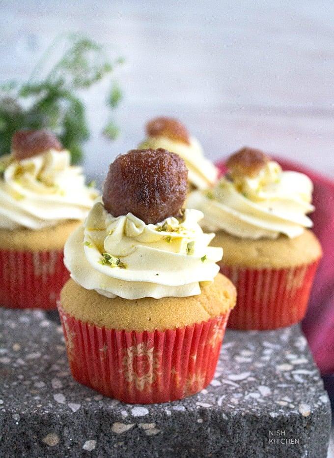 gulab jamuns into cupcakes