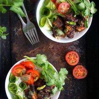 chicken tikka rice bowl recipe video