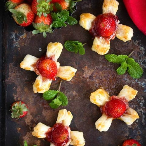Strawberry Rose Puff Pastry Flowers | Video