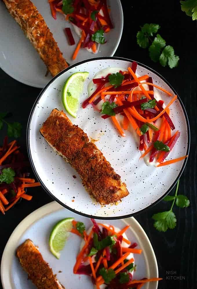 Spiced salmon tray bake recipe video