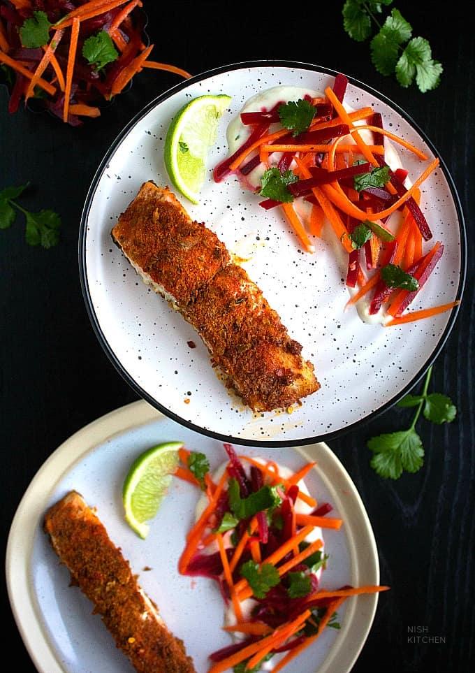 Spiced salmon tray bake recipe