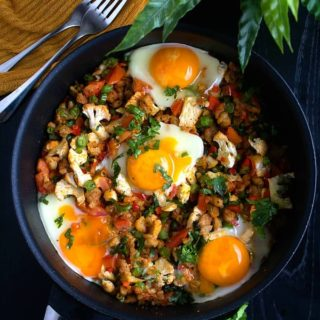 One pan breakfast with sausages and eggs recipe video