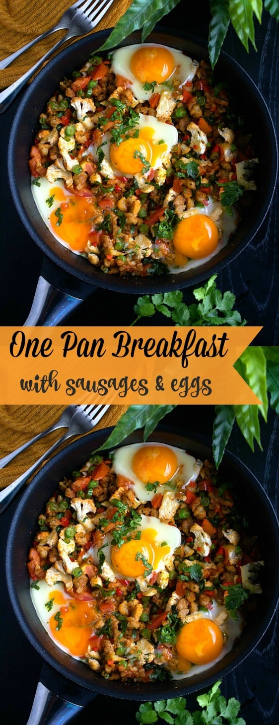 One pan breakfast with sausages and eggs