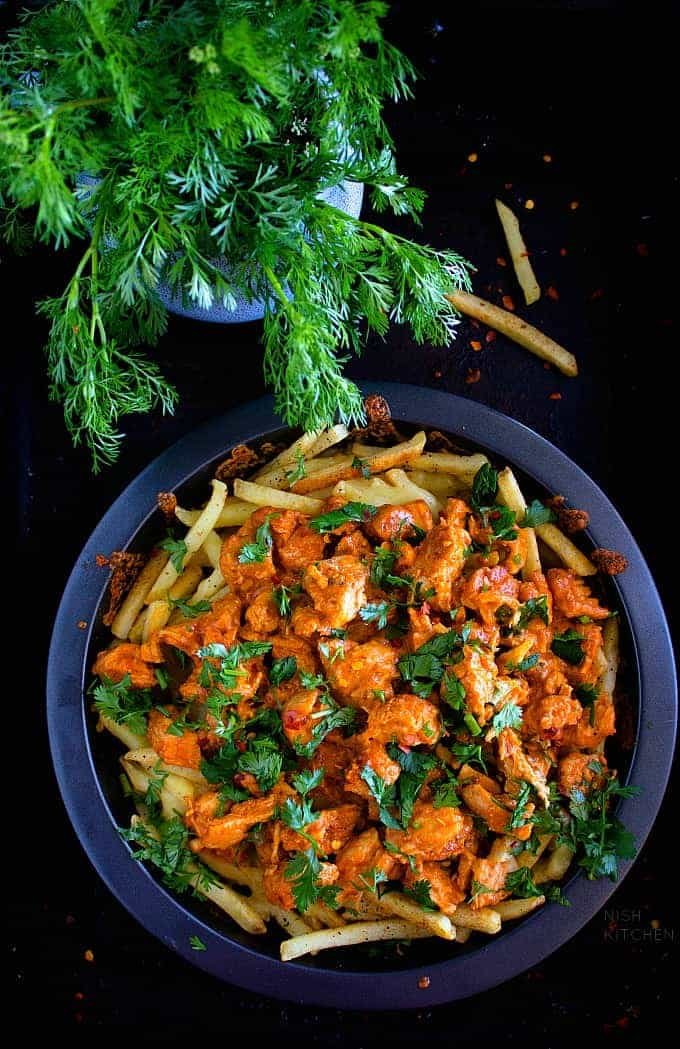 Butter chicken loaded fries recipe video