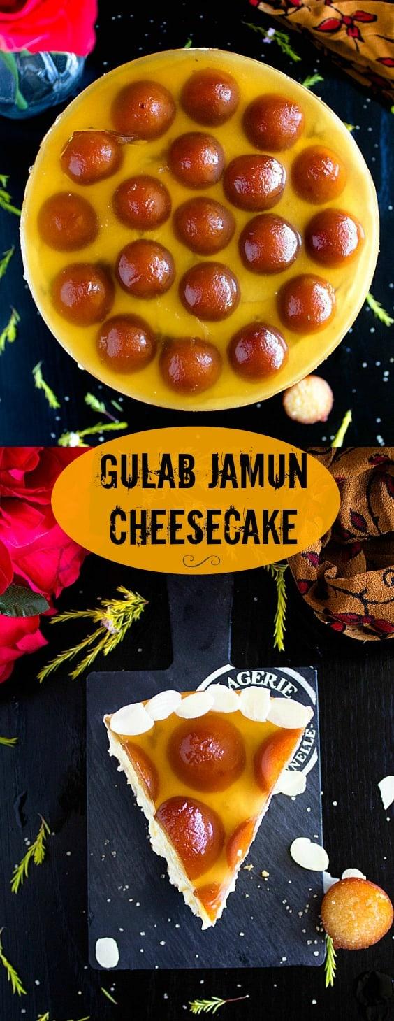 No Bake Gulab Jamun Cheesecake Recipe with Video