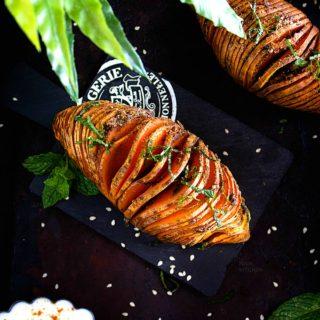 spiced hasselback sweet potatoes recipe video