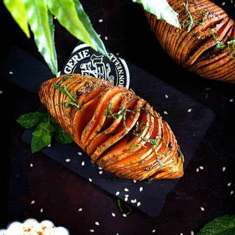 spiced hasselback sweet potatoes recipe video