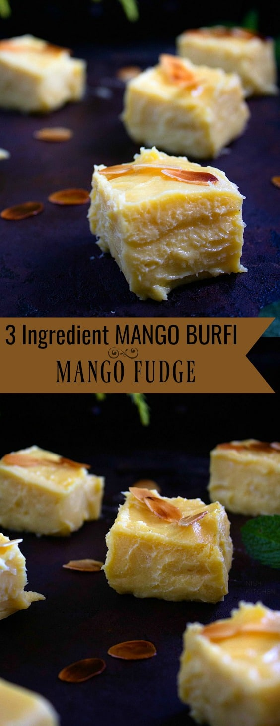 3 Ingredient Mango Burfi or Mango Fudge