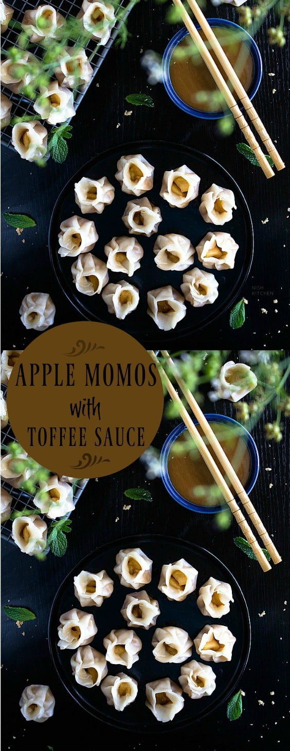 Apple momos with toffee sauce