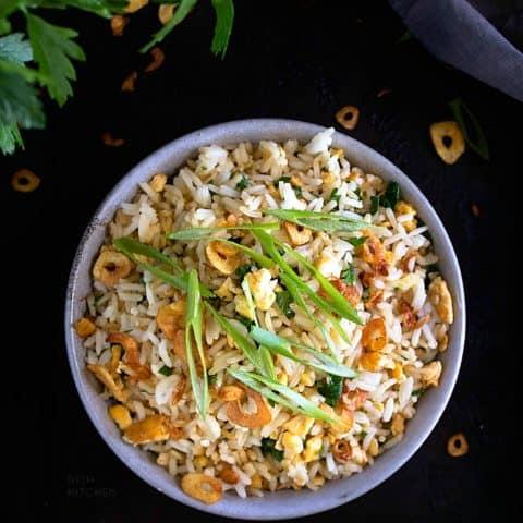Japanese garlic fried rice recipe video