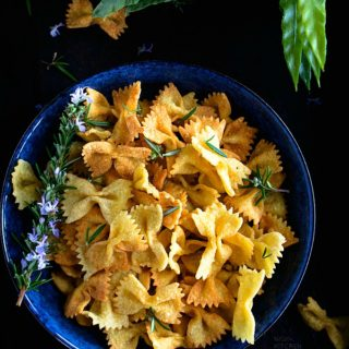 Chaat spiced pasta chips