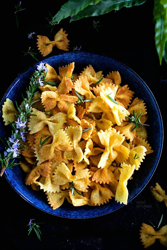 Chaat Spiced Pasta Chips recipe