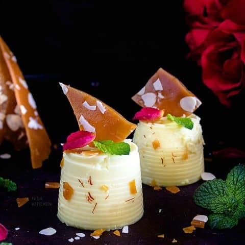 Rabri panna cotta with almond brittle recipe video