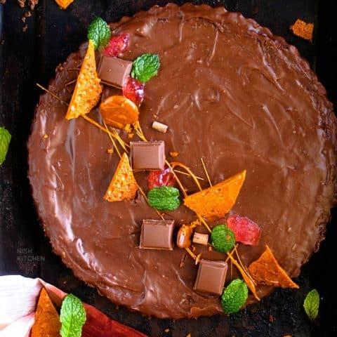 4 ingredient no bake chocolate tart recipe video