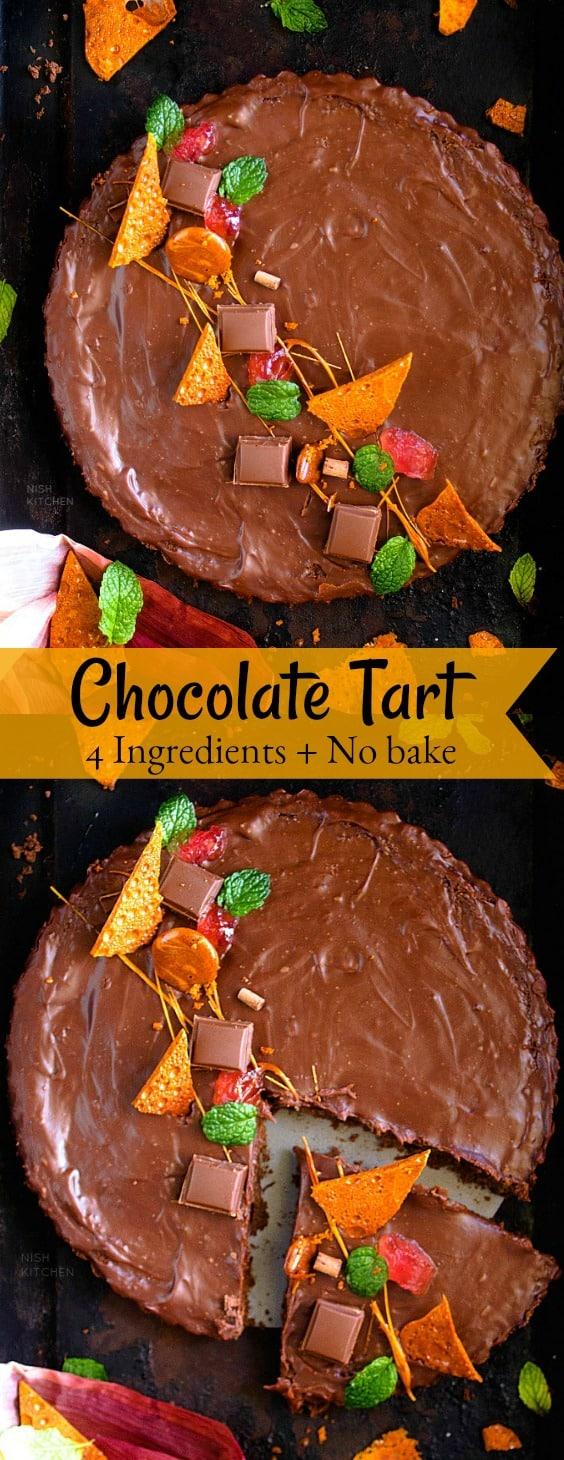 4 Ingredient No Bake Chocolate Tart