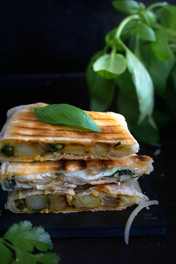 Sandwich with leftover roti