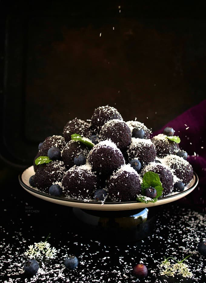 Ladoo with blueberries and coconut