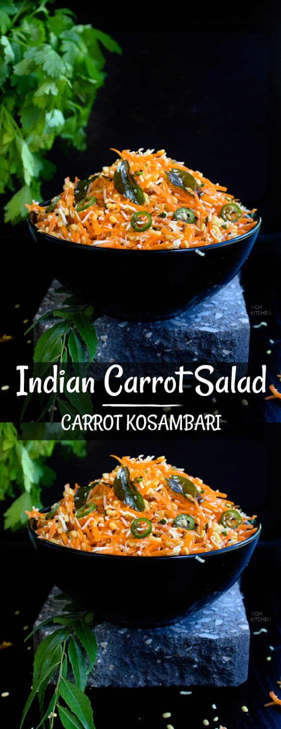 Carrot Kosambari or Indian Carrot Salad
