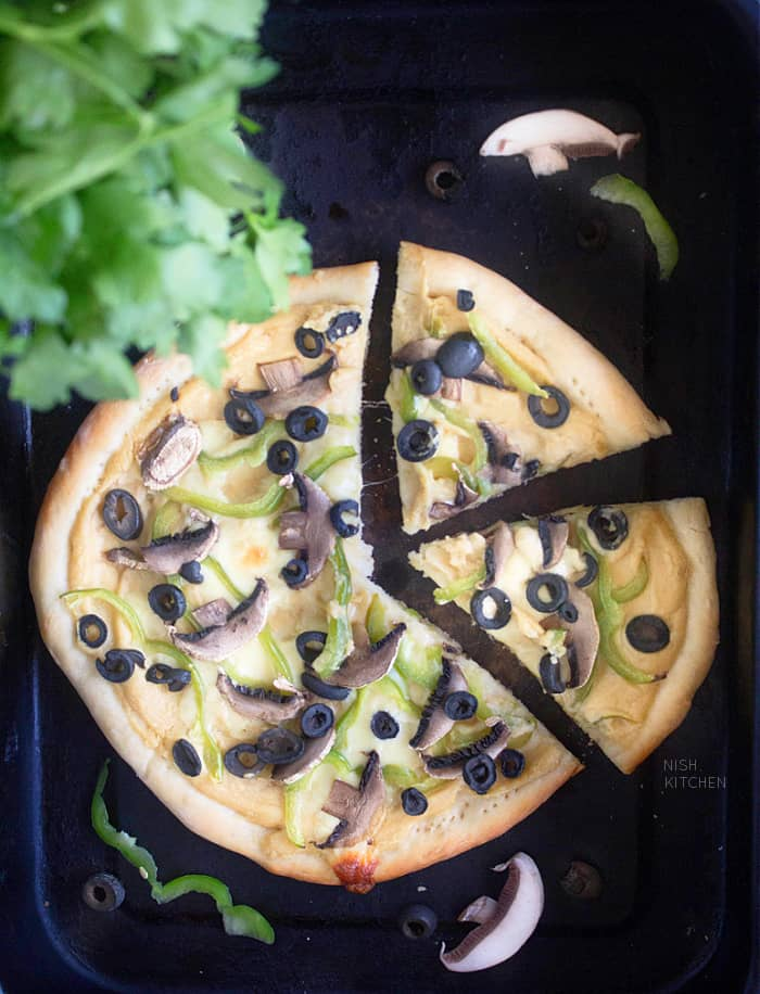 Healthy pizza with hummus