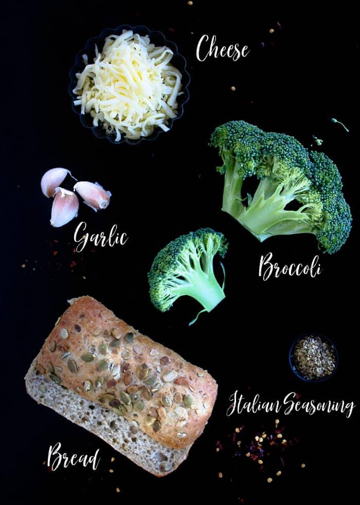 Ingredients to make broccoli melts
