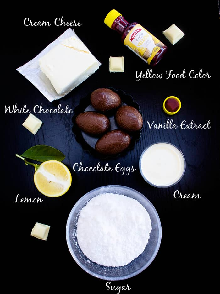 Ingredients for cheesecake filled easter eggs