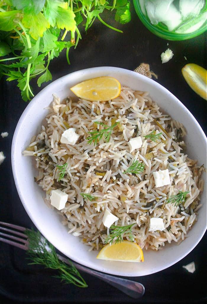 Greek spinach rice recipe