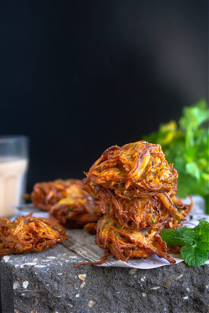 Spiced onion fritters indian style